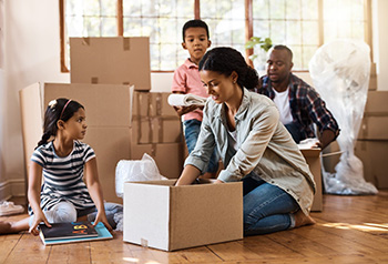 Children helping with moving